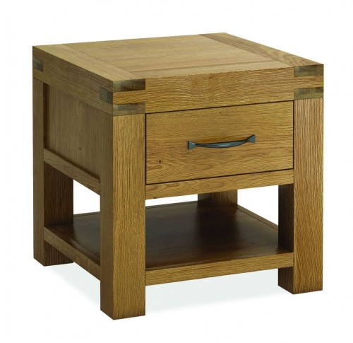Sutton Rustic Waxed Oak 1 Drawer Lamp Table