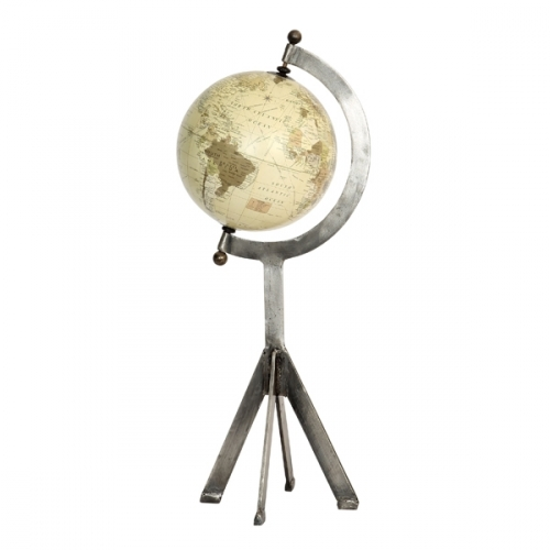 Ornate Globe with 90cm Distressed Iron Stand