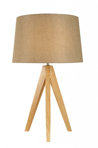 Wooden Tripod Lamp Taupe