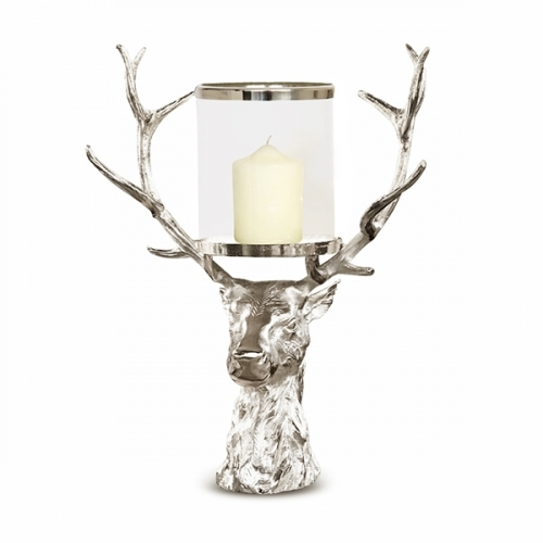 New Forest Stag Head Hurricane Lantern