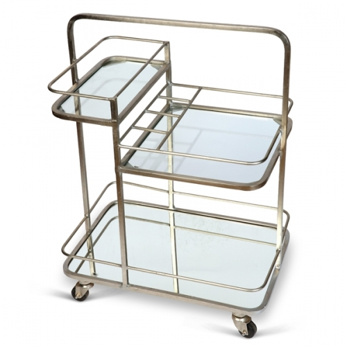 Lanesborough Three Tier Drinks Trolley - Antique Silver Finish