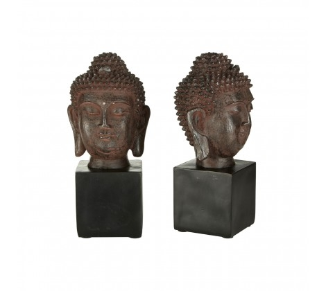 Set of Buddha Head Bookends