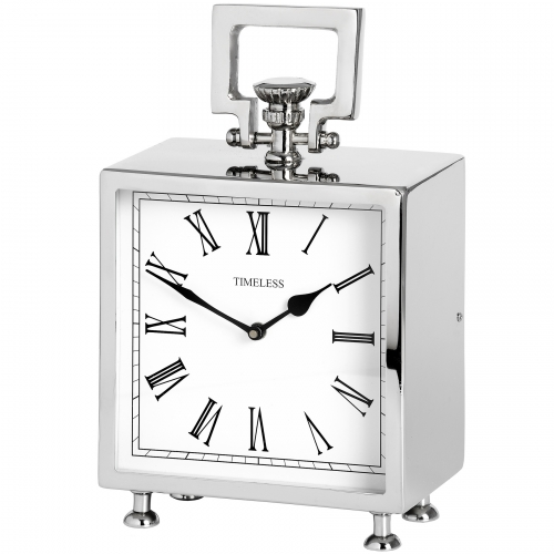 Square Nickle Table Clock