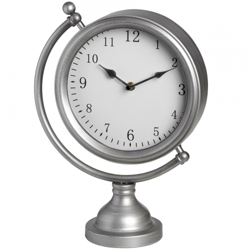 Silver Round Mantel Clock on Globe Frame