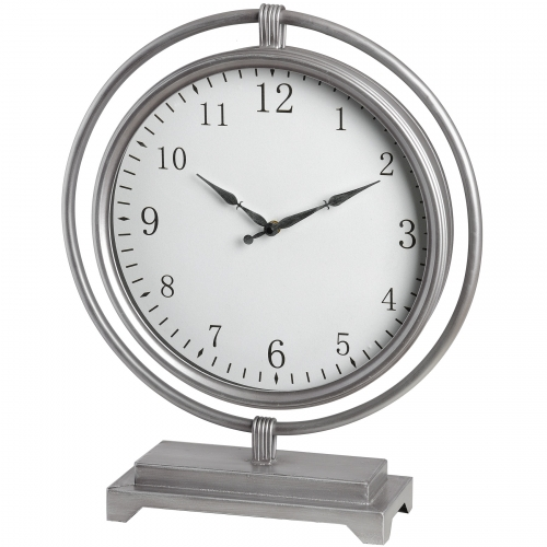 Silver Round Mantel Clock Hanging within Frame