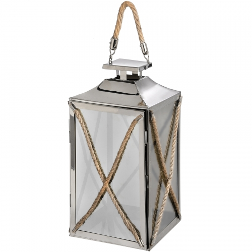 Chrome Lantern with Rope Detail