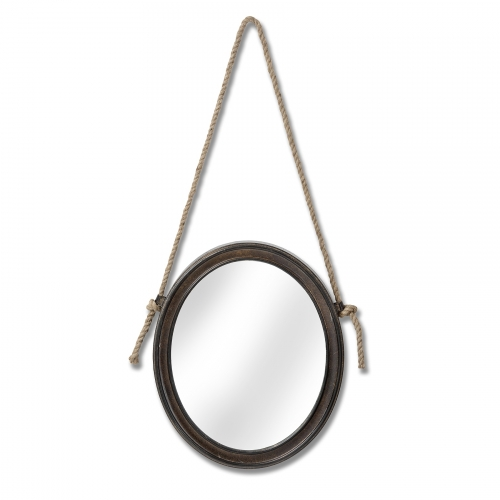 Oval Mirror with Hanging Rope