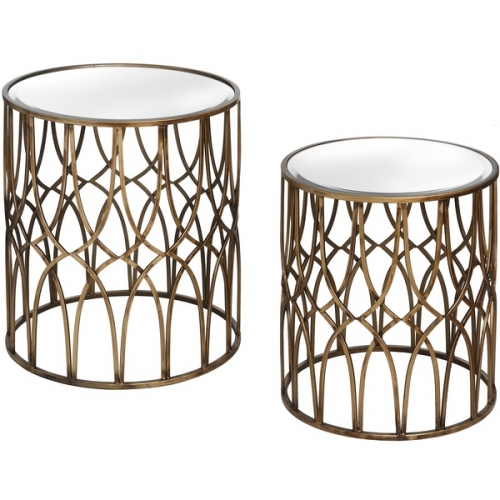 Small Lattice Detail Silver Side Table