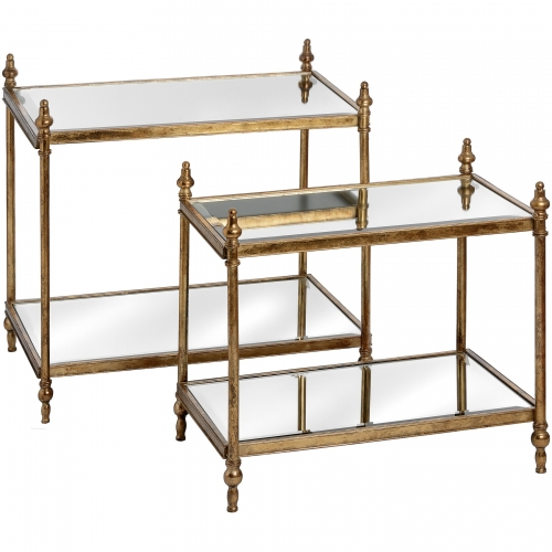 Set of Two Antique Gold Rectangular Tables