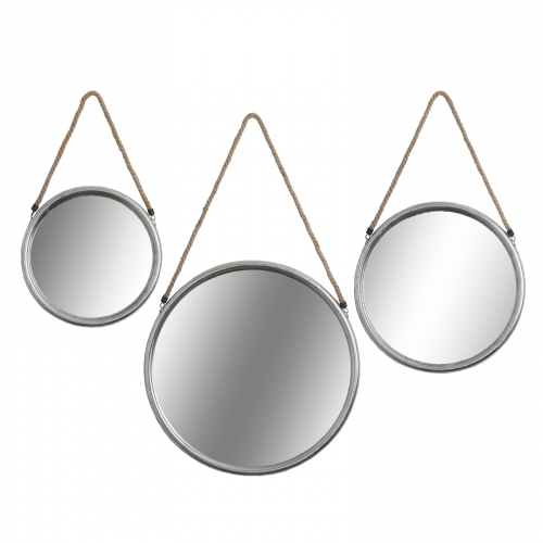 Large Silver Round Mirror with Rope Hanger