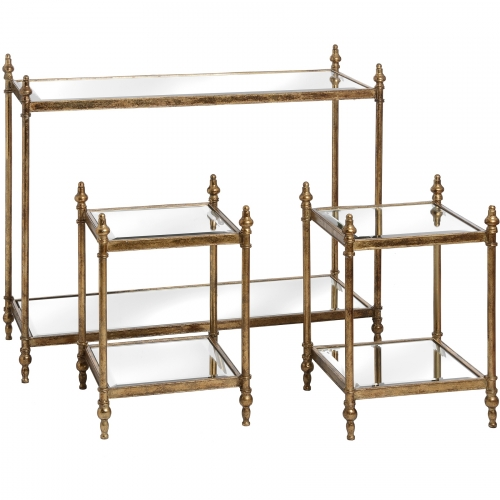 Antique Gold Console Tables with Two Side Tables