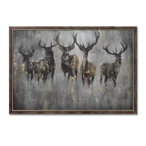 Large Curious Stag Painting on Cement Board