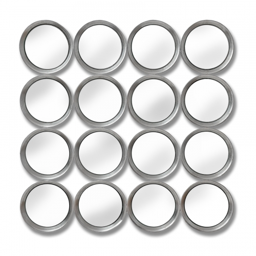 Large Silver Circular Multi Mirrored Wall Art