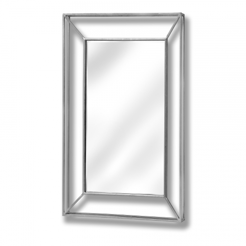Large Framed Design Pronounced Silver Mirror