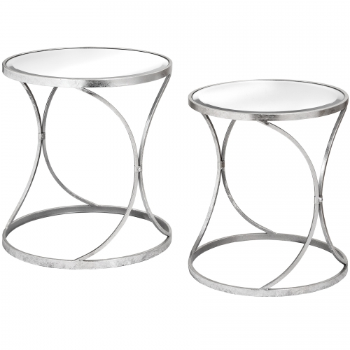 Large Silver Curved Side Table