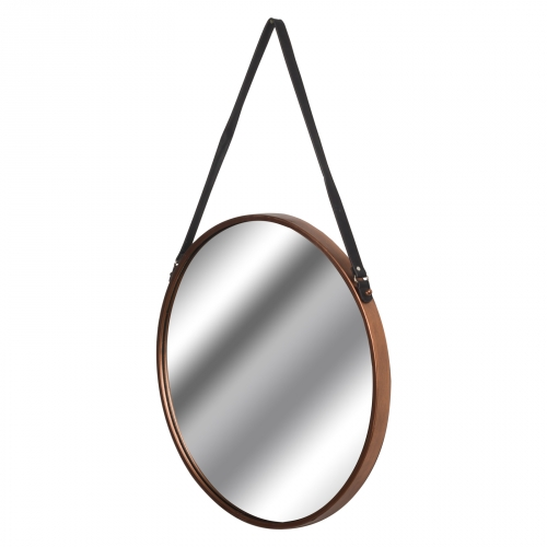 Copper Rimmed Round Hanging Mirror
