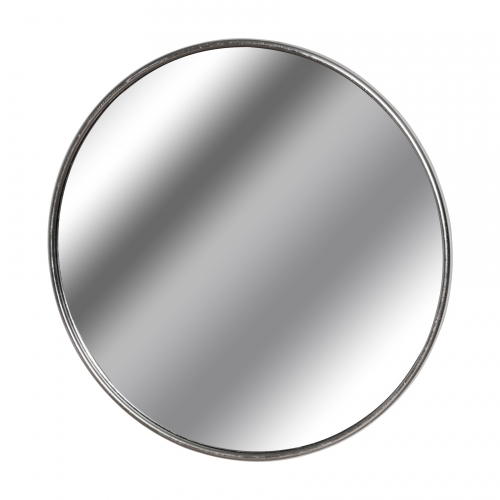 Silver Foil Large Circular Metal Wall Mirror
