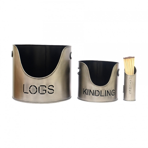 Logs Bucket, Kindling Bucket and Matchstick Holder in Aged Pewter