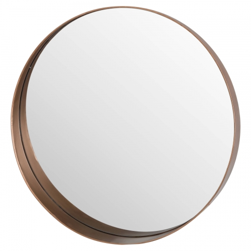 Circular Copper Finish Mirror with Decorative Loop