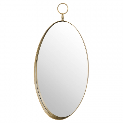 Antique Bronze Oval Mirror with Decorative Loop