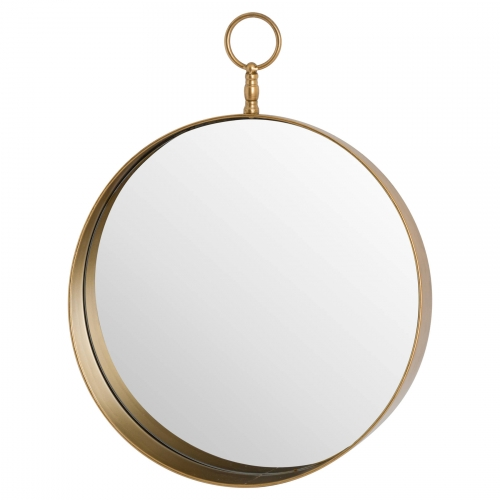 Antique Bronze Circular Mirror with Decorative Loop