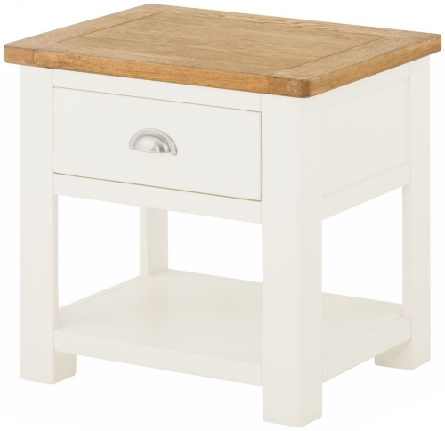 Brompton White Lamp Table with Drawer