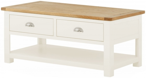 Brompton White Coffee Table with Drawers