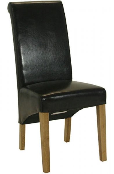 Sorrento Brown Leather Roll Back Dining Chair