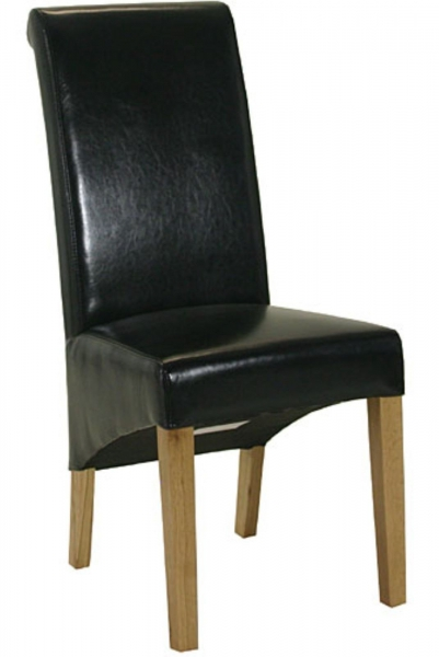 Sorrento Black Leather Roll Back Dining Chair