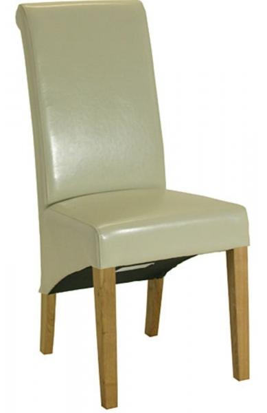Sorrento Cream Leather Roll Back Dining Chair