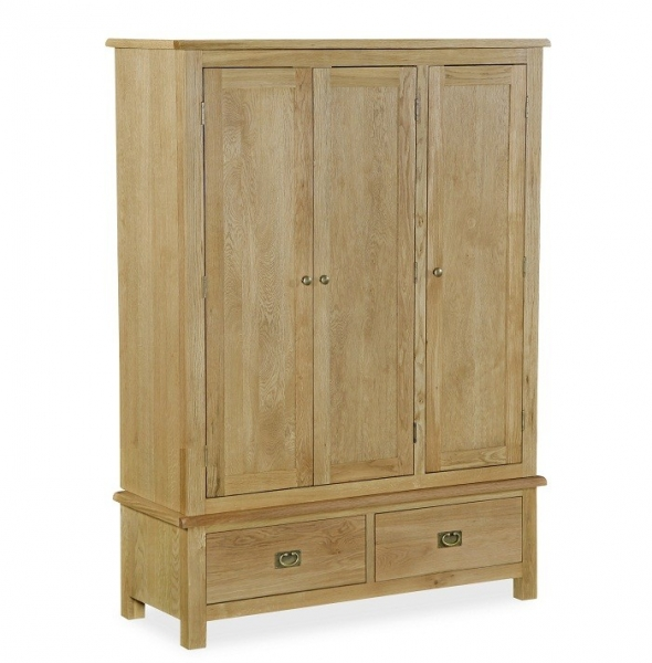 Somerset Waxed Oak Triple Wardrobe