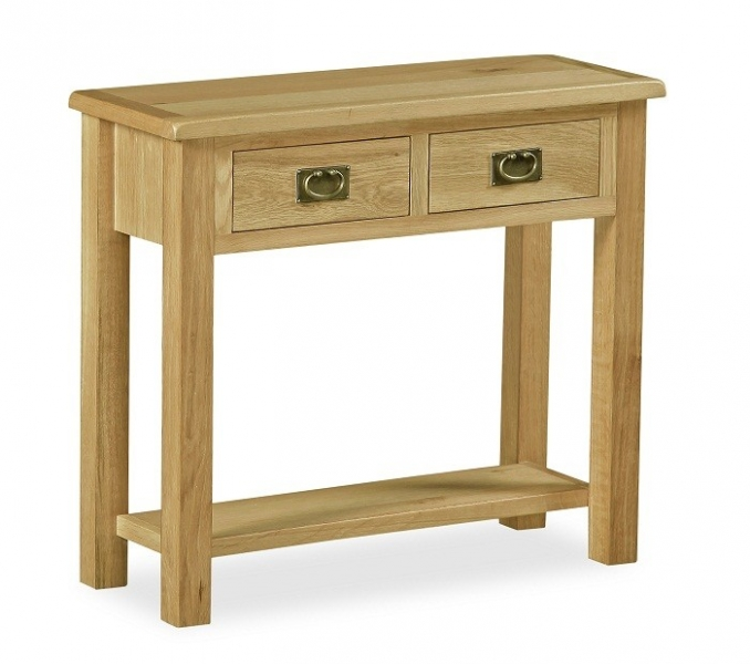 Somerset Waxed Oak 2 Drawer Console Table