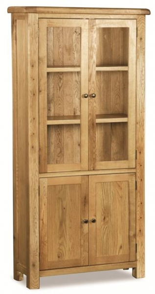 Farmhouse Waxed Oak Display Cabinet