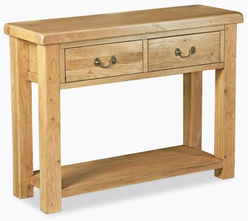 Farmhouse Waxed Oak Console Table