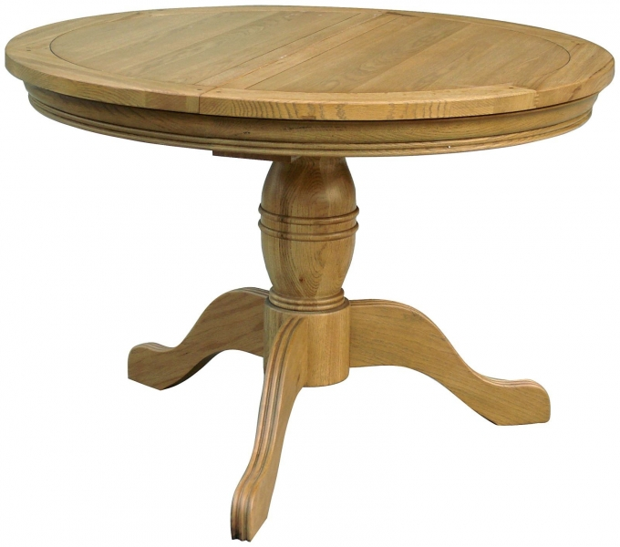Rochelle French Oak Round Extending Table with Pedestal Base