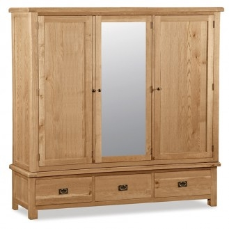 Country Rustic Waxed Oak Large Triple Wardrobe with Mirror
