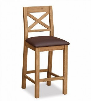 Country Rustic Waxed Oak Bar Stool