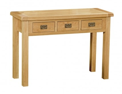 Country Rustic Waxed Oak Wide 3 Drawer Dressing Table