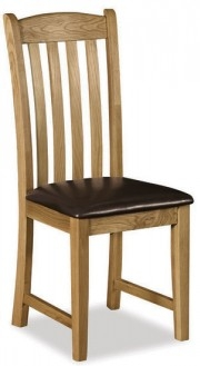 Country Rustic Waxed Oak Dining Chair with Pu Seat Slat Back