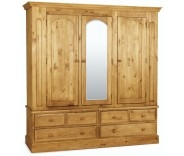 Wellgarth Pine Triple Mirrored Wardrobe