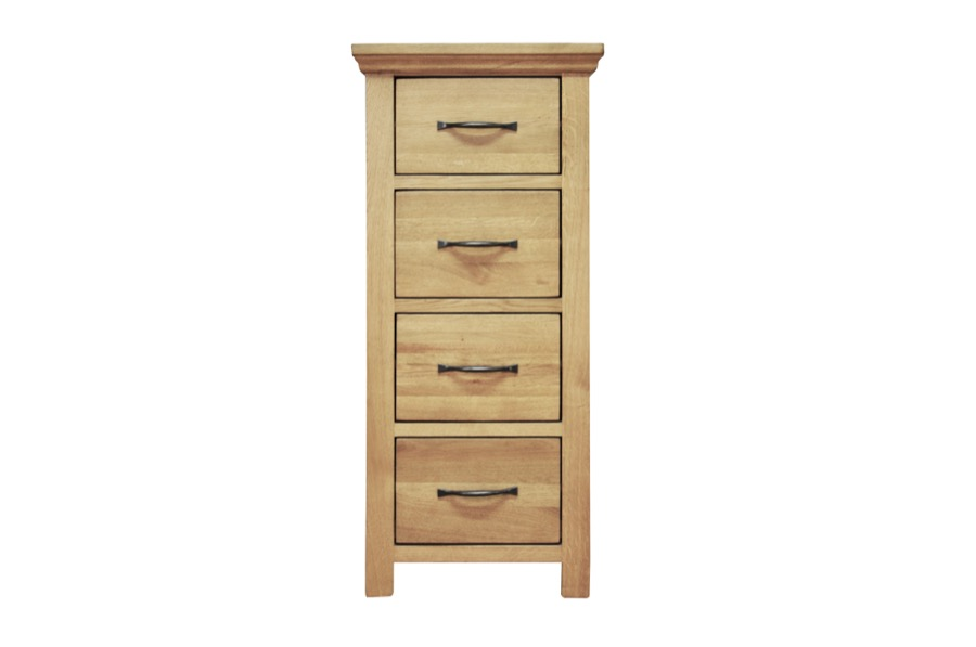 Granby Oiled Oak 4 Drawer Narrow Chest