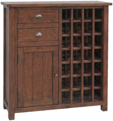 Melrose Reclaimed Pine Sideboard With Wine Rack