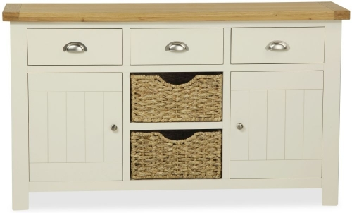Dawlish Painted Oak Large Sideboard With Baskets