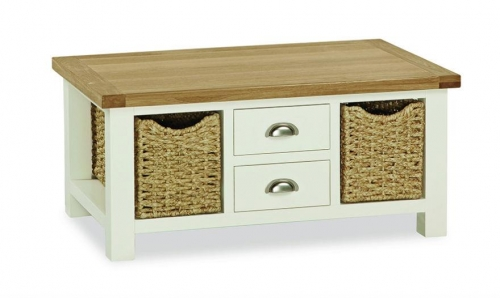 Dawlish Painted Oak Large Coffee Table With Baskets