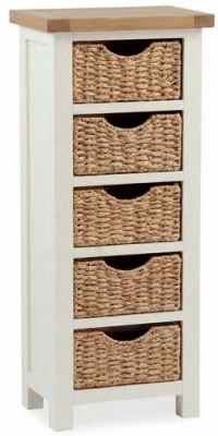 Dawlish Painted Oak 5 Drawer Basket Chest
