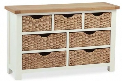 Dawlish Painted Oak 3 Over 4 Drawer Wide Basket Chest