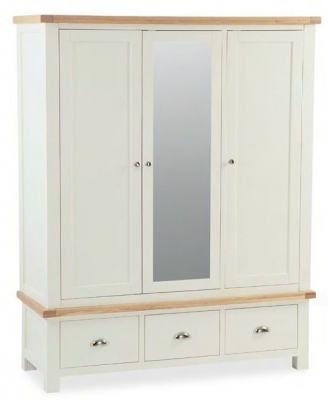 Dawlish Painted Oak Triple Wardrobe