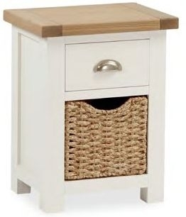 Dawlish Painted Oak 1 Drawer Bedside With Basket