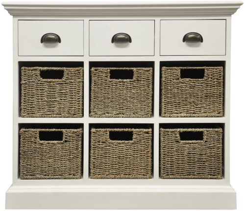 Harbour Painted 3 Drawer 6 Basket Unit