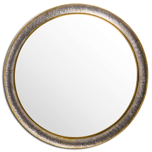 Large Hammered Circular Wall Mirror